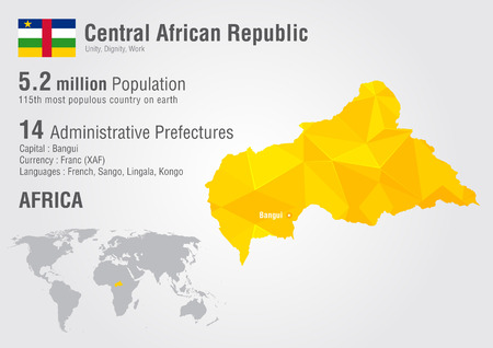 Central African Republic world map with a pixel diamond texture. World Geography. Illustration