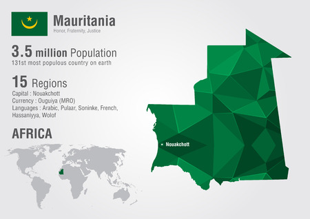 populous: Mauritania world map with a pixel diamond texture. World geography.