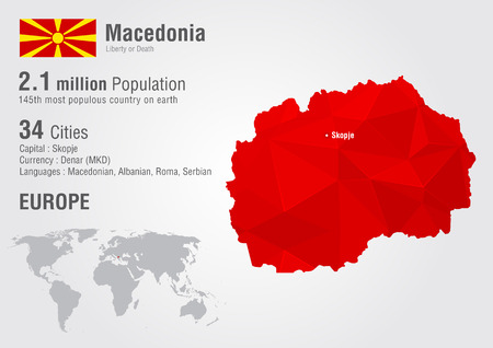 populous: Macedonia world map with a pixel diamond texture. World Geography.