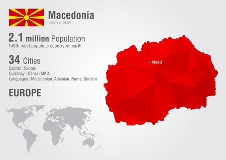 Macedonia world map with a pixel diamond texture. World Geography.