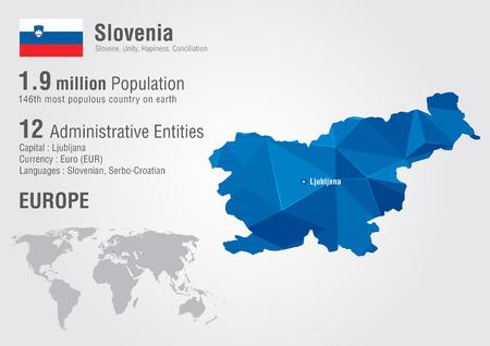 픽셀 다이아몬드 텍스처와 슬로베니아 세계지도입니다. 세계 지리학. 일러스트