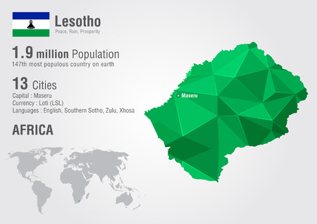 Lesotho world map with a pixel diamond texture. World geography. Illustration