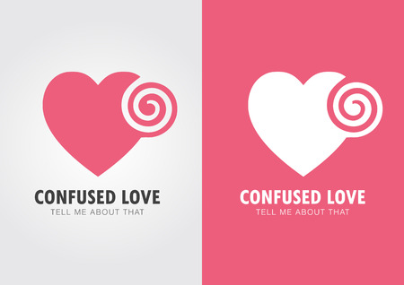 ci: Confused Love. Heart and twirl. Sometime it happen to you.