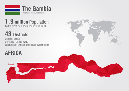 The Gambia world map with a pixel diamond texture. World geography.