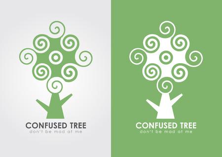 ci: Confused tree. Leaf and green. Nature. Illustration