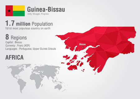 populous: Guinea-Bissau world map with a pixel diamond texture.Wolrd geography. Illustration