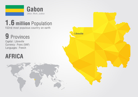 populous: Gabon world map with a pixel diamond texture. World geography.