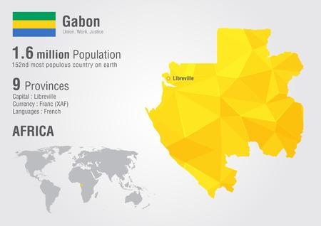 Gabon world map with a pixel diamond texture. World geography.