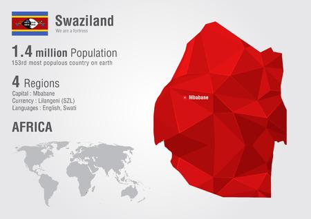 픽셀 다이아몬드 텍스처와 스와질란드 세계지도. 세계 지리학.