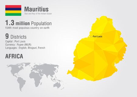 Mauritius world map with a pixel diamond texture. World geography.