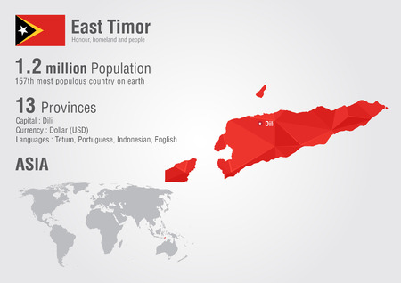 populous: East Timor world map with a pixel diamond texture. World geography.
