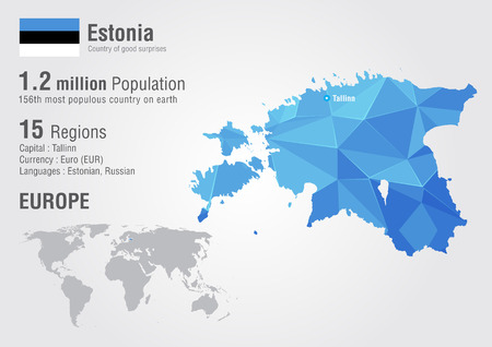 populous: Estonia world map with a pixel diamond texture. World Geography. Illustration