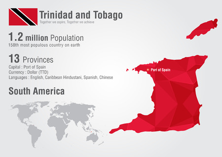 trinidad: Trinidad and Tobago world map with a pixel diamond texture. World Geography. Illustration