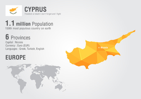 populous: Cyprus world map with a pixel diamond texture. World geography.
