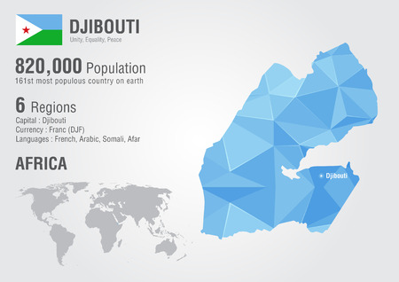 diamond texture: Djibouti world map with a pixel diamond texture. World Geography.