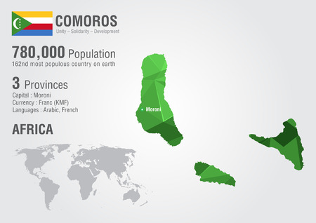 Comoros world map with a pixel diamond texture. World geography. Illustration