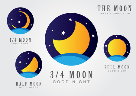 Moon set icon with star sky and sea. The moon and a goodnight. Illustration