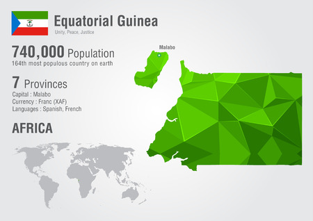 Equatorial Guinea world map with a pixel diamond texture. Wolrd Geography. Illustration