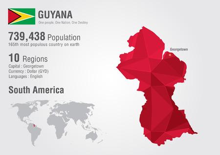 가이아나 세계지도 다각형과 다이아몬드 패턴. 세계 지리 인구.