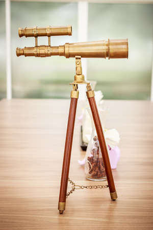 antique binoculars: vintage brass telescope Stock Photo