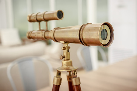 vintage brass telescope Stock Photo