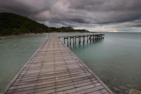 Wood bridge on the sea at Khao Laem Ya National Park, Rayong photo