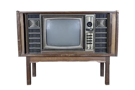Vintage televisie op een witte achtergrond