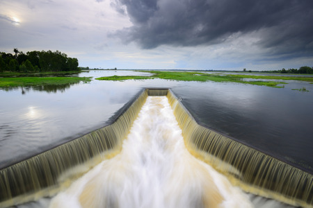 catchment: Dam catchment from which water is flowing. Stock Photo