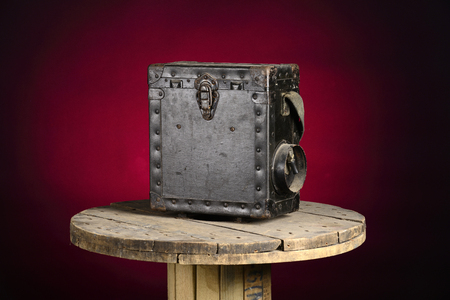 wartime: Old military field phone isolated the old wooden floorfield