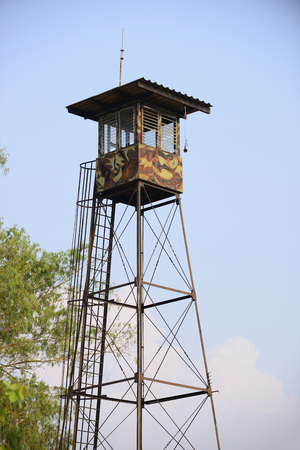 watchtower: watchtower with soldiers Stock Photo