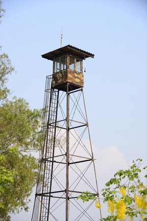 soldiers: watchtower with soldiers Stock Photo