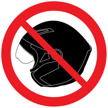 Sign No Helmet. Prohibited icon.