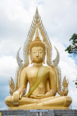 Golden Buddha statue in public temple Thailand