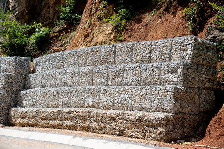 gabion mesh: Stone with wire mesh for protection rock falling from mountain