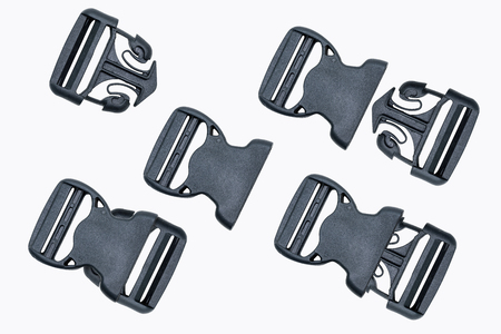Set of plastic buckle or fastex buckles isolated on white background.