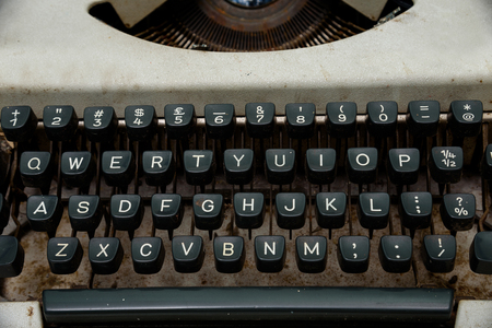 screenwriter: close up of keys of Vintage typewriter.