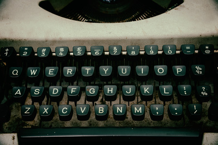screenwriter: close up of keys of Vintage typewriter. Toned image. Stock Photo