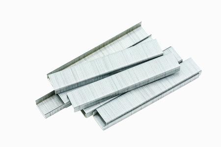 paper fastener: Staples for staple gun isolated on white background.