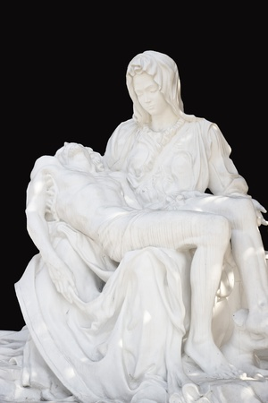 holy mary: beautiful statue of Holy Mary holding the Corpus Christi on her lap