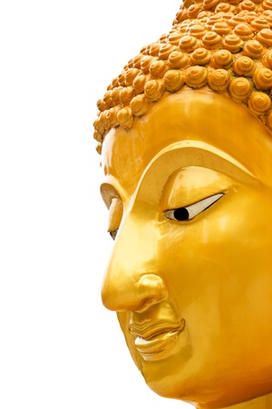 Half of a Buddha s face on white background