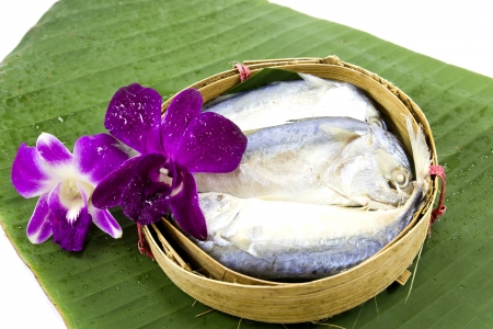 Mackerel fish steamed in bamboo basket and Asia Style photo