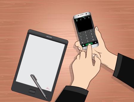 work on telephone Ilustração