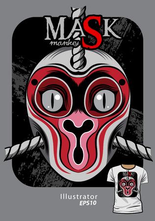 A mask monkey graphic pattern screen t shirt