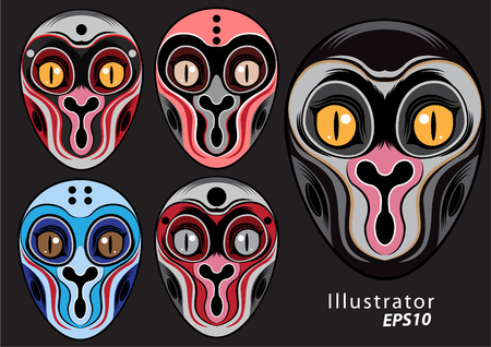 Monkey mask graphic pattern vector color