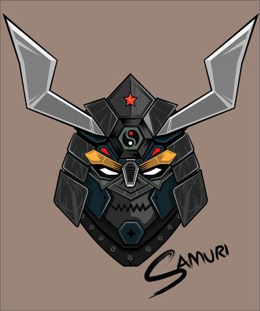 samuri head abstract vector color