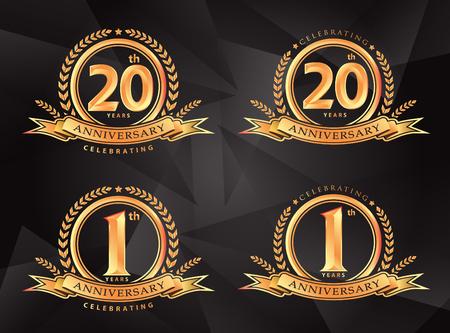 1th 20th anniversary celebrating classic vector logo design premium on gray background
