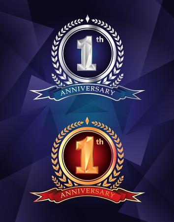 1th anniversary celebrating classic vector logo design premium on blue background