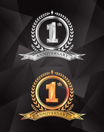 1th anniversary celebrating classic vector logo design premium on gray background