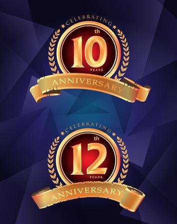 10th 12th anniversary celebrating classic vector logo design premium on blue background