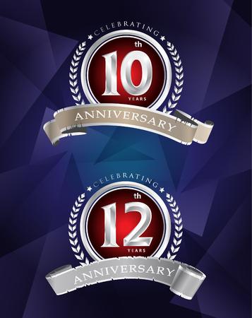 10th 12th anniversary celebrating classic vector logo design silver premium on blue background